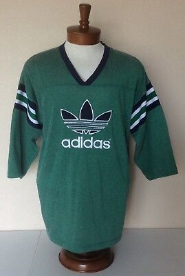 Adidas VTG Rugby Jersey T Shirt Green Nylon Blend Embroidered Trefoil Spellout