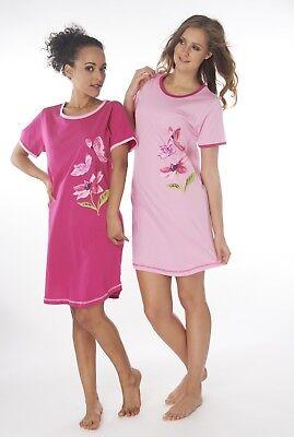 Damen Nachthemd 2 Stück = 1 Preis DW960V Kurzarm  100% Baumwolle Jersey