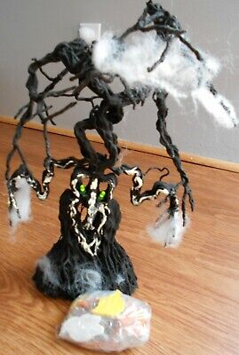 """15"""" Black Battery Powered Halloween Tree with Flashing Eyes &12 Ornaments"""