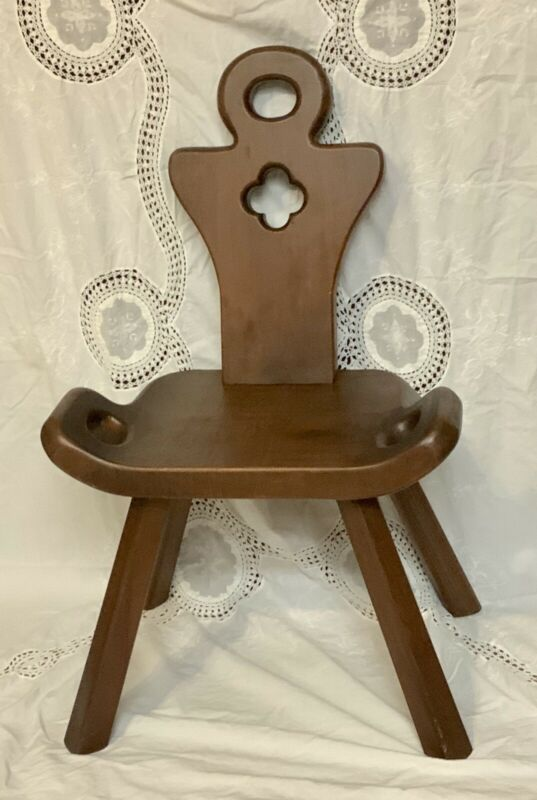 Primitive Antique Handmade Wood Milking Stool Birthing Chair