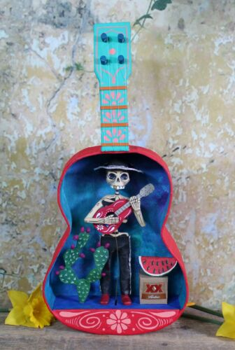 Day of the Dead Moving Mariachi Playing Guitar Handmade by Becca Mexico Folk Art