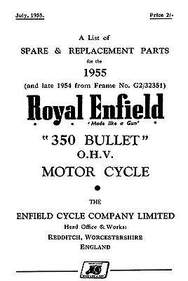 1955 Royal Enfield 350cc Bullet parts book