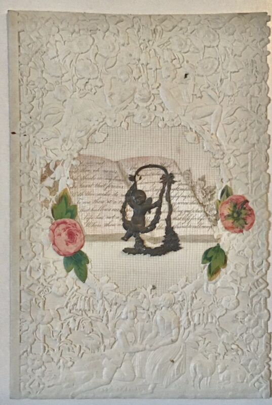 Rare, Very Delicate Mid-19th Century Antique Valentine