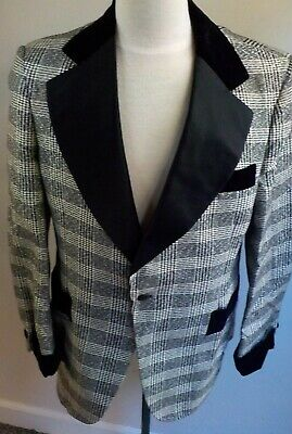 VTG AFTER SIX FORMAL WEAR  Plaid Tuxedo Style Jacket SZ 42R Black/Ivory After Six Formal Wear