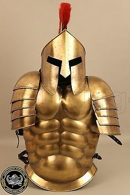 COLLECTIBLES MEDIEVAL MUSCLE SUIT WITH SPARTAN HELMET HALLOWEEN BRASS  - Spartan Suit