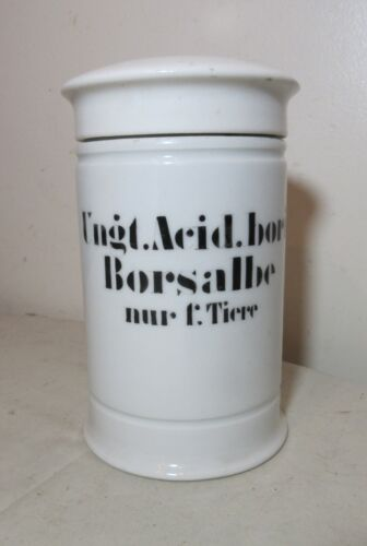 rare antique hand painted apothecary lidded porcelain medical drug jar science .