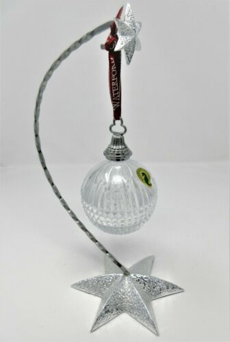 Waterford Lismore Crystal Ornament and Silver STAR Stand Holder Christmas