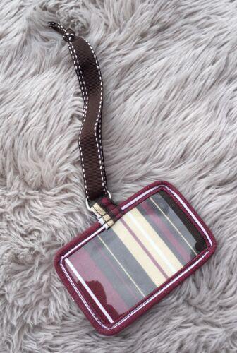 Thirty-One Burgundy Stripe Fabric Luggage Tag - $2.99