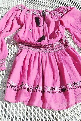 LoveShackFancy Popover Mini Dress Pink Cotton Small Embroidered Prarie Peasant