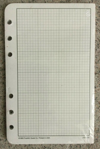 COMPACT Franklin Covey 50 GRAPH PAPER Planner Refill Pages 4.25 x 6.75 Old Stock