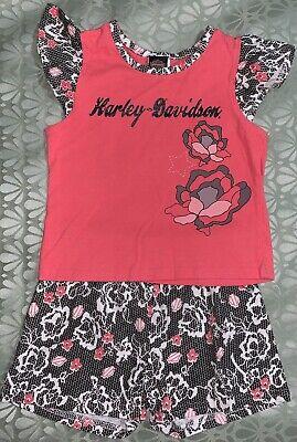 3t Short - Harley Davidson 3T Short Set Toddler Glitter Roses Cap Sleeves Rose Pink Black