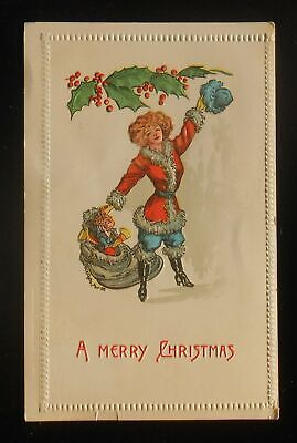 1909 Merry Christmas Sexy Beautiful Girl in Santa Outfit Blue Hat Toy Sack PC ()