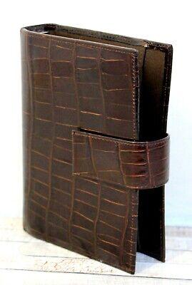 Mundi Brown Croco Leather Personal Organizer Binder Planner 6x1r Sz 7.5x5.5