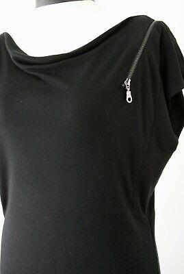 Black T Shirt Dress River Island Size 12 Slash Neck Off Shoulder Goth Punk Zip