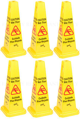 6 Pack Restaurant Caution Wet Mop Bucket Floor Yellow 27 Cone Sign Commercial