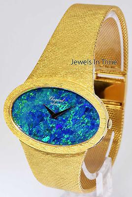 Chopard Mens Vintage 18k Yellow Gold and Black Opal Bracelet Watch 5038