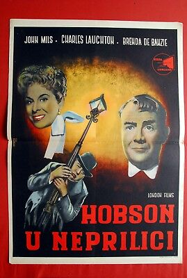 HOBSON'S CHOICE CHARLES LAUGHTON 1954 BRENDA DE BANZIE UNIQUE EXYU MOVIE POSTER