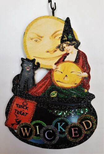 WITCH, CAT, MOON & CAULDRON - WICKED  * Glitter HALLOWEEN ORNAMENT * Vtg Img