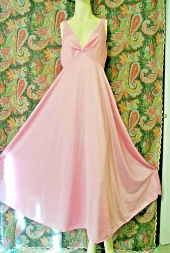 Vintage Monique Pink Silky Nylon Empire Formal Sweep Nightgown Nighty Lingerie M