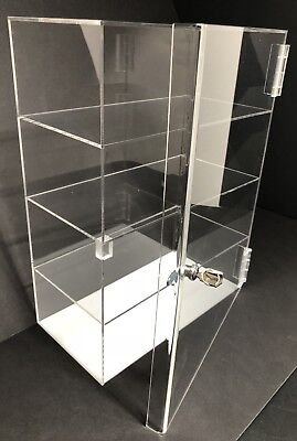 "Acrylic Counter Top Display Case Acrylic Locking Show Case/Shelves 12""x7""x20.5"""
