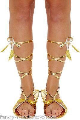Damen Gold Römisch Griechisch Gladiator Krawatte Kostüm Outfit Sandalen Schuhe ()