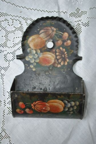 Antque Decorated Tin Toleware Wall Match Box Holder, Stencil Painted, Folk Art
