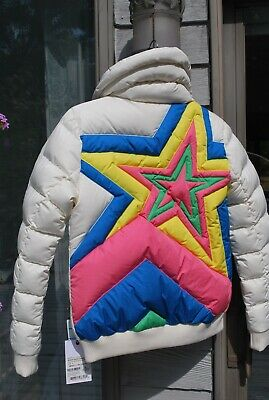 NWT PERFECT MOMENT Super Star Puffer Down Jacket in Snow White Rainbow Ski M