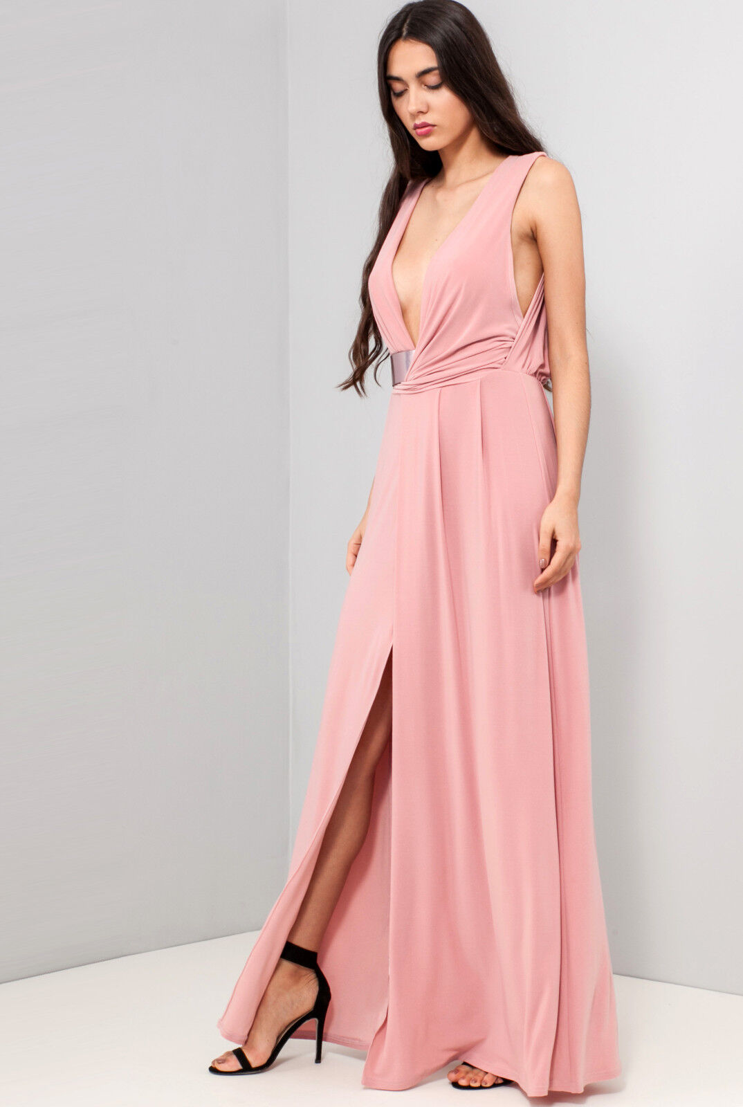 7b3a4cc983 Asos womens new drape neck belted maxi evening going out party JPG  1074x1600 Asos pink dress