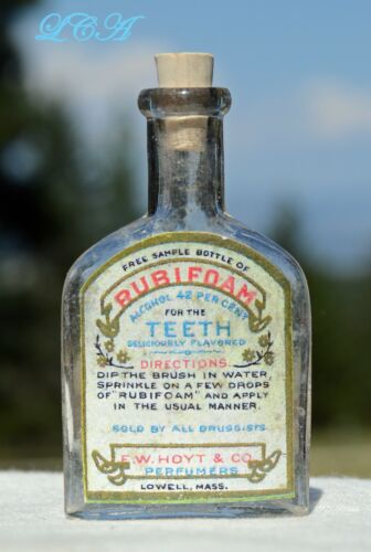 Tiny SAMPLE of RUBIFOAM liquid dentifrice FOR the TEETH antique bottle