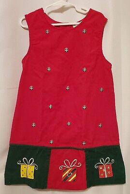Rare Editions girls corduroy holiday / christmas jumper / dress - size 6X - EUC
