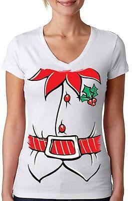ELF COSTUME WOMEN V-NECK Merry Christmas T-Shirt Santa's Helper Elf Party Shirt - Women Elves