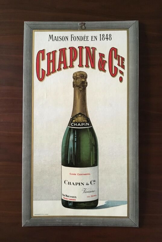 Rare Vintage  Advertising Card Sign Chapin & Cie French Champagne Wine