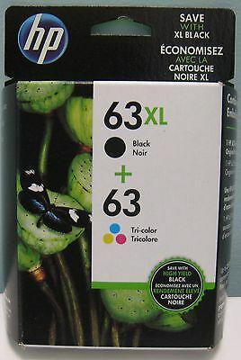 HP 63XL / 63 TRI-COLOR NEW GENUINE VALUE PACK INK CARTRIDGES , NEW IN BOX