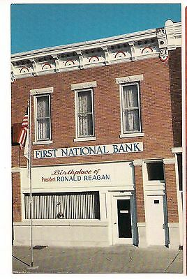 Tampico Illinois First National Bank Birthplace Of Ronald Reagan Postcard