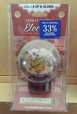 Vtg 2009 Yankee Candle Leaves Glass Shade Autumn Wreath LIGHTED Electric Plug In