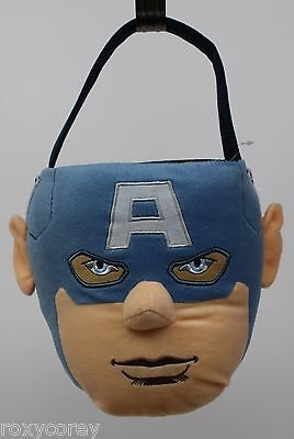 Easter Halloween The Avengers Blue Plush Tote Basket Bucket & 3 Treat Containers (Avengers Easter Basket)