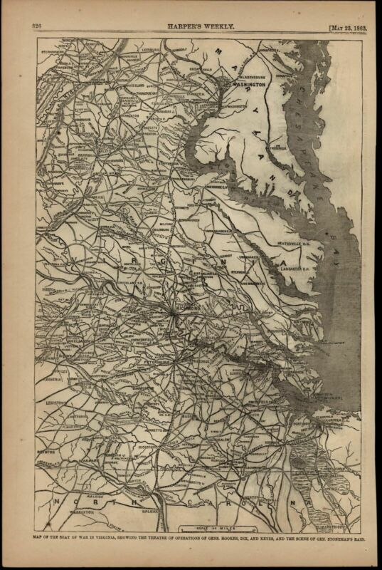 Seat of War in Virginia Chesapeake Washington DC Richmond 1863 Civil War map