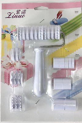 Ribbon Roller Cutter Strip Fondant Embosser Roller Set Sugarcraft Cake Decoratin