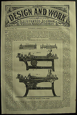 1878 Design & Work Inventions Machine For Making Paper Bags Lyle Nelson Patent