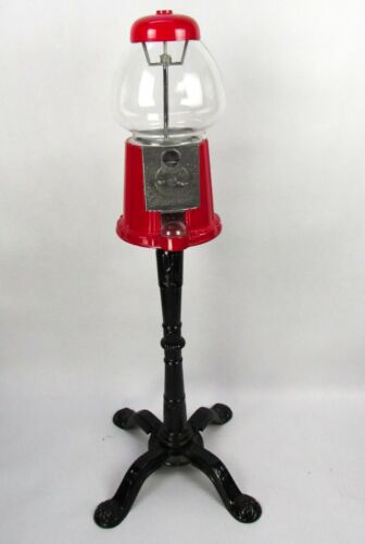 Vintage 1985 Carousel KING Gumball Machine w/Floor Stand Red Black Metal Glass