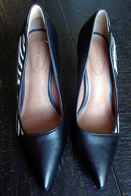 Sasha Zebra (Corso Como Sasha Leather & Hair Calf Black White Zebra Pointy Toe Heels Size 7)