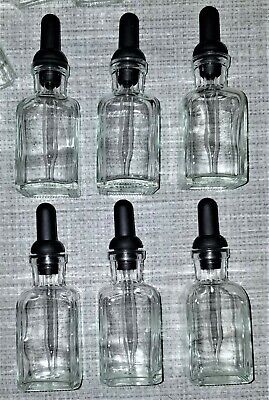 Wheaton 30ml Clear Glass Dropping Bottles With Rubber Bulb Stopper - Qty Of 6