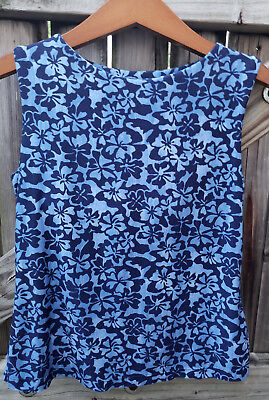 Womens L L  Bean Blue Floral Sleeveless Tank Top Tankini Work Out Exersice Small