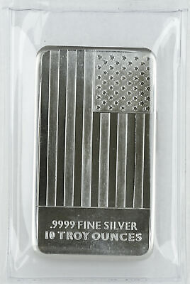 10oz Silver Flag Bar .999 - Sealed Plastic