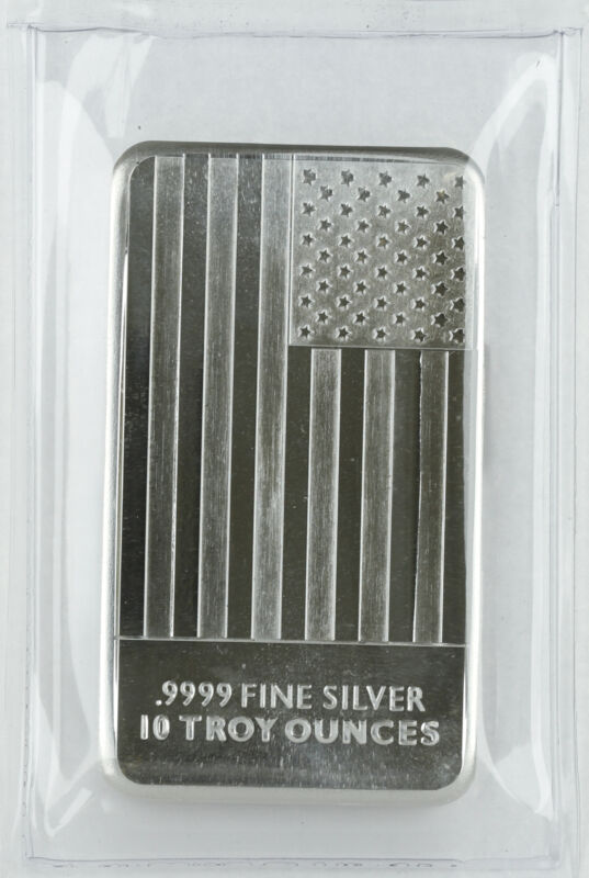 10oz Silver Flag Bar .9999 Fine - Sealed Plastic - CNT Minting