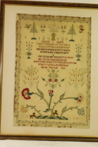 """Sampler, english or American, very lightly tacked down, dated 1763,""""Sara Taylor"""""""