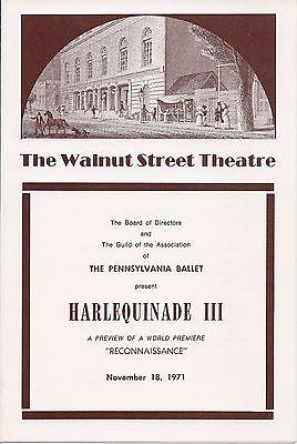 Walnut St. Threatre, HarlequinadeIII, Nov. 18, 1971, Pennsylvania Ballet