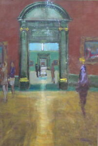 SUPERB-ORIGINAL-LEON-GOODMAN-The-Spectators-National-Gallery-London-PAINTING