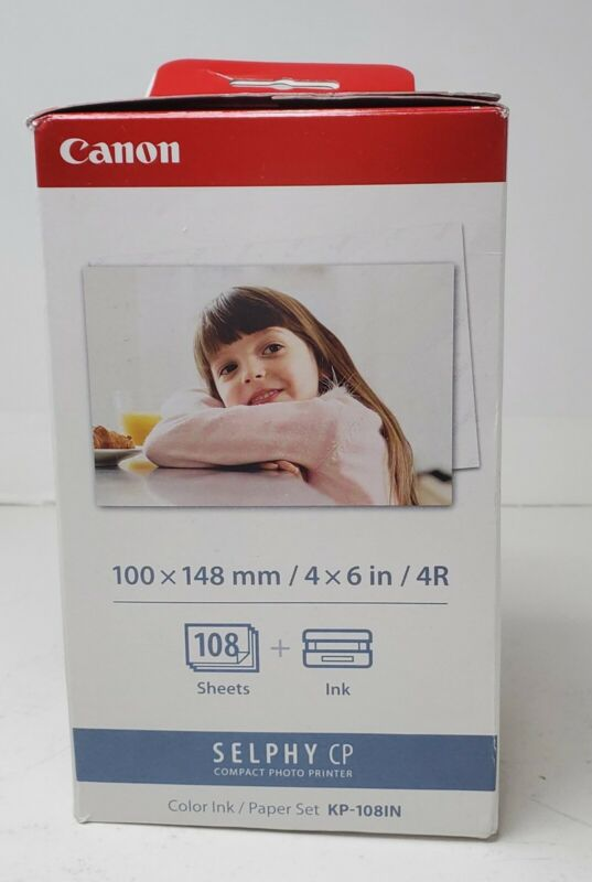 Canon KP-108IN Color Ink / Paper Set for Selphy CP ~ Includes 3 Ink & 108 Sheets