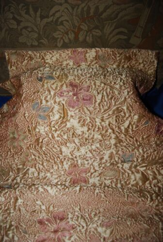 ANTIQUE FRENCH EMBROIDERED SILK FABRIC